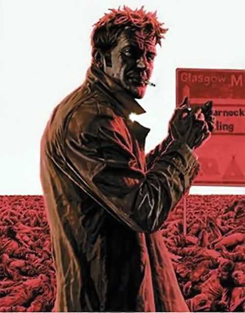 John Constantine Hellblazer (DC Comics) smoking near a field of corpses