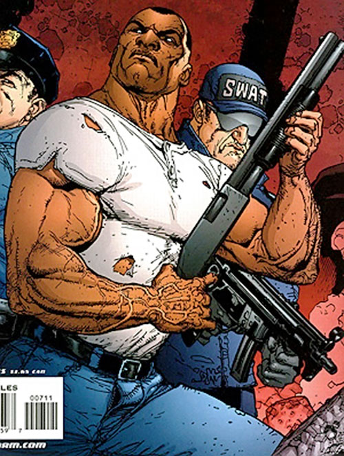John Doran of Stormwatch PHD (Wildstorm Comics) with a riot gun and a torn T-shirt