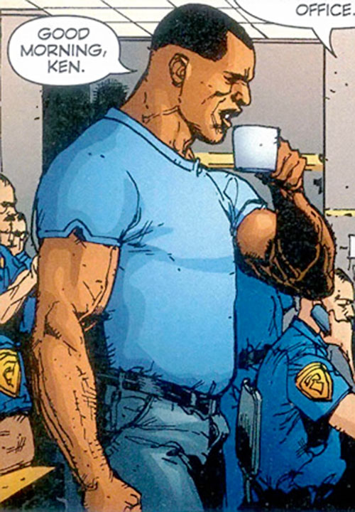 John Doran of Stormwatch PHD (Wildstorm Comics) getting coffee at the precinct