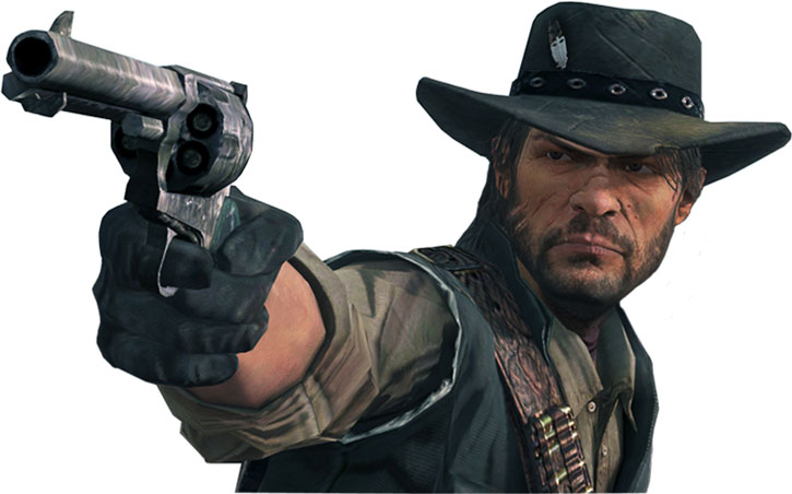 John Marston with a Peacemaker over white background