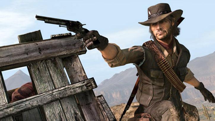 John Marston aims a revolver