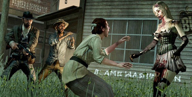 John Marston and locals face a zombie dancer
