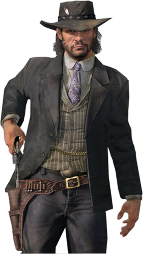 John Marston (Red Dead Redemption) dressed in gray drawing his gun