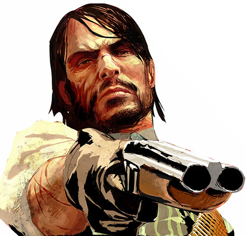John Marston (Red Dead Redemption) art pointing a sawed-off shotgun