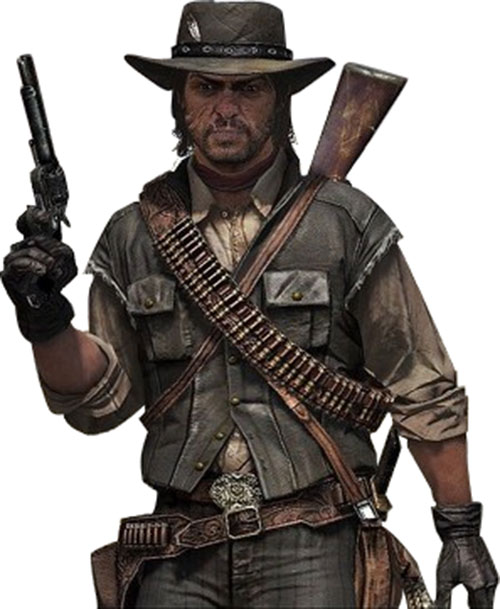 John Marston (Red Dead Redemption) with a raised revolver