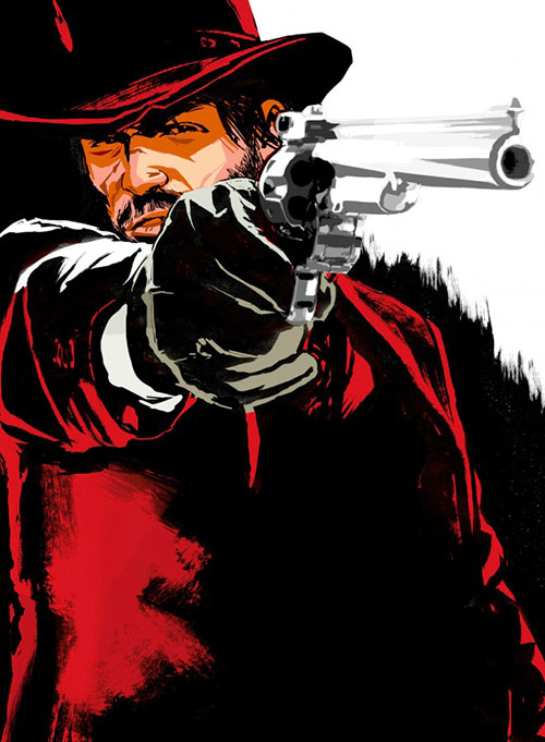 John Marston (Red Dead Redemption) in red aiming a revolver