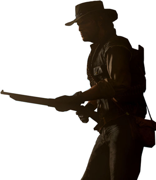 John Marston (Red Dead Redemption) in shadows, pointing a shotgun