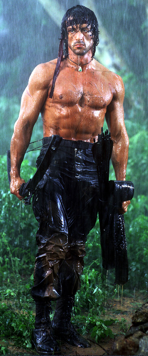 John Rambo (Sylvester Stallone) with a bow