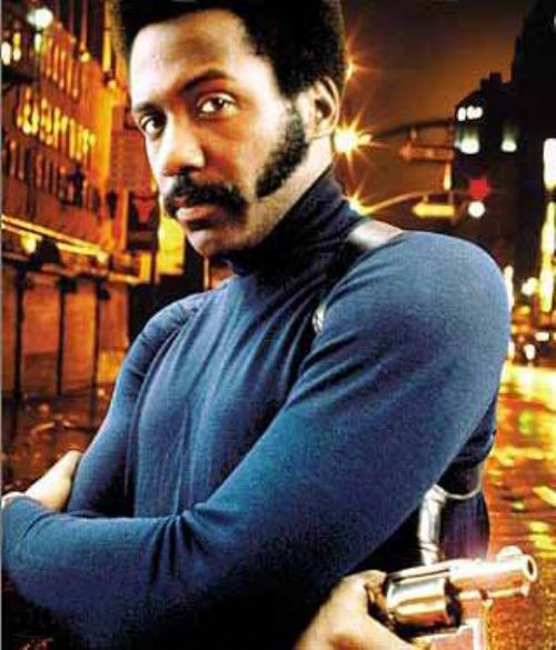 John Shaft (Richard Roundtree) in a blue sweater