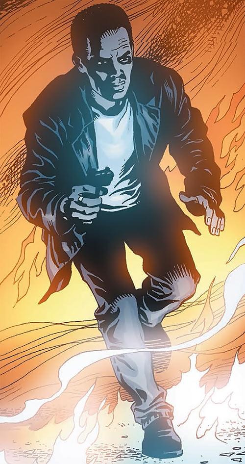 John Stark - Global Frequency comics - Running among flames