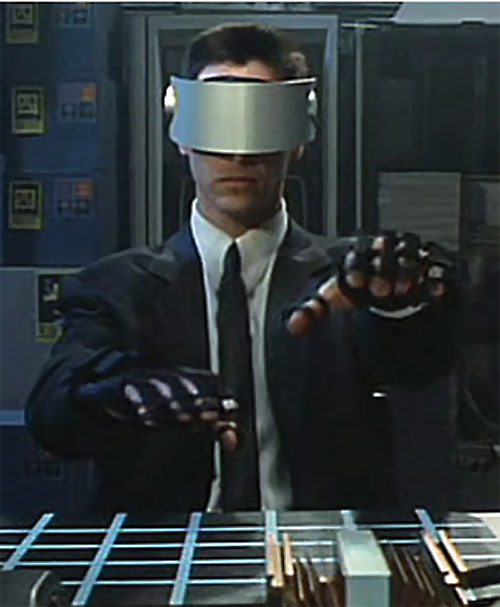 Johnny Mnemonic (Keanu Reeves) with cyberspace gear