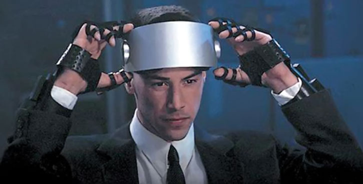 Johnny Mnemonic (Keanu Reeves) with virtual reality equipment