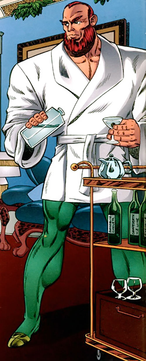 Johnny Redbeard (Savage Dragon Comics) with a white vest, pouring a drink