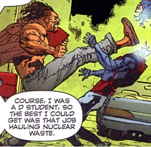 Johnny Too Bad (Stormwatch PHD enemy) (Wildstorm Comics) kicks the head off a Spartan knockoff android