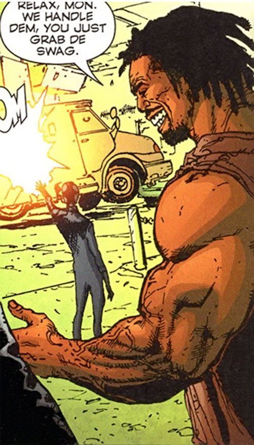 Johnny Too Bad (Stormwatch PHD enemy) (Wildstorm Comics) attacks a cash truck
