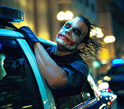 Joker (Heath ledger in the Batman Dark Knight movie) during a car chase