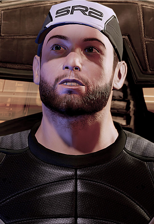 Joker in Mass Effect 2 (Moreau) with his SR2 baseball cap