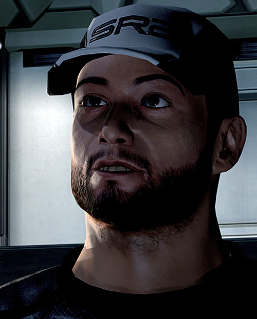 Joker in Mass Effect 2 (Moreau) high resolution face closeup