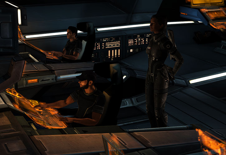Joker (Jeff Moreau), Kaidan Alenko and Commander Shepard
