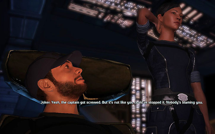 Joker (Jeff Moreau) discussing with Commander Shepard in ME1