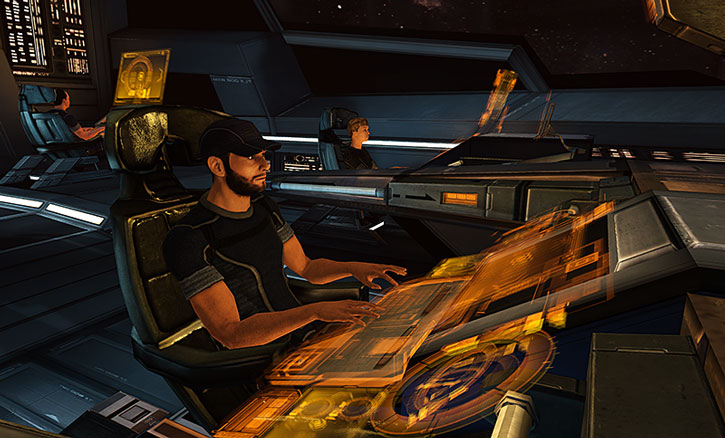 Joker (Jeff Moreau) at the helm of the Normandy SR1