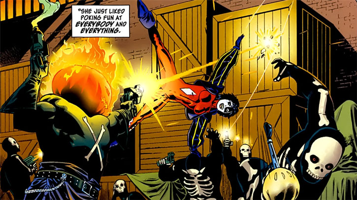 Joker (DC's Tangent Comics) fighting men in skeleton suits