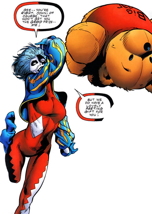 Joker (DC's Tangent Comics) throwing a teddy bear