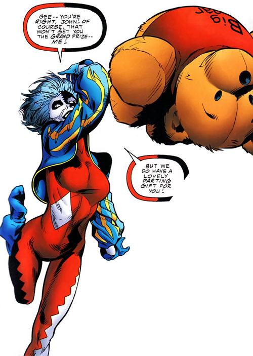 Joker (DC's Tangent Comics) throwing a teddy bear