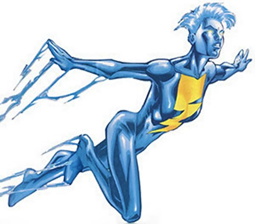 Jolt of the Thunderbolts (Marvel Comics) flying in her blue electric form