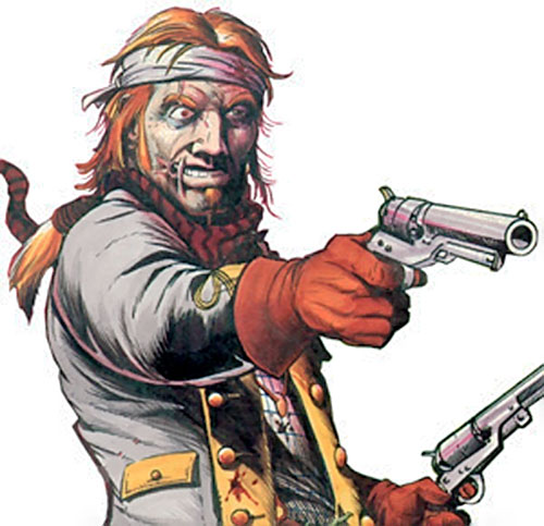 Jonah Hex with paired Old West revolvers
