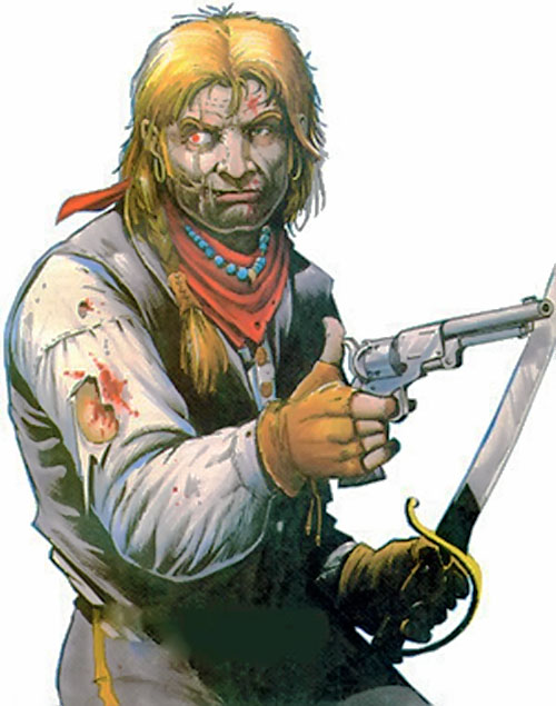 Jonah Hex with a revolver and a sabre