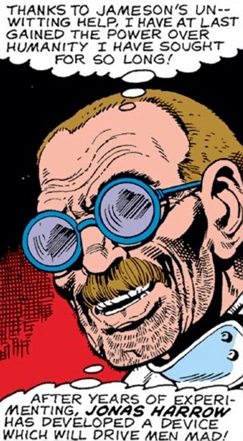 Jonas Harrow (Spider-Man enemy) (Marvel Comics) face closeup
