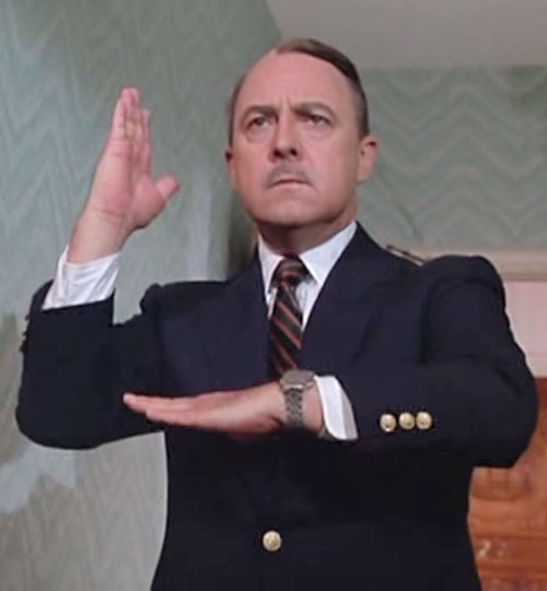 Jonathan Higgins (John Hillerman in Magnum PI) faux martial arts pose