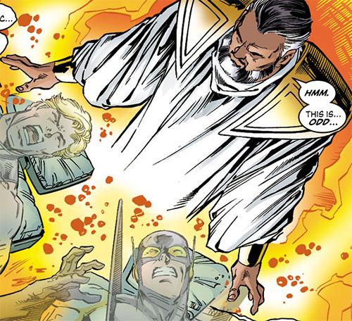 Jonathan Tremont of the Triune draining the Avengers (Marvel Comics)