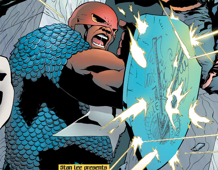 Josiah X (Marvel Comics) wielding the shield