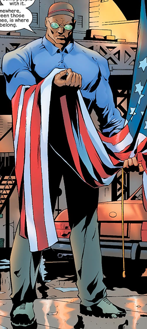 Josiah X from the Crew (Marvel Comics) contemplating the flag
