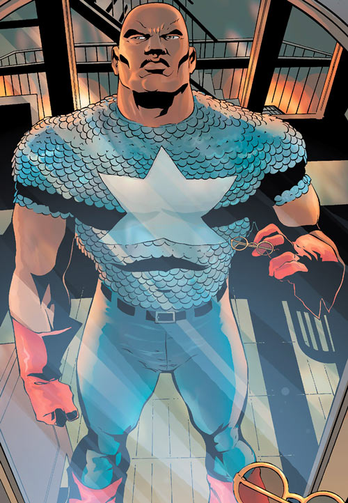 Josiah X from the Crew (Marvel Comics) wearing Isaiah Bradley's Captain America uniform