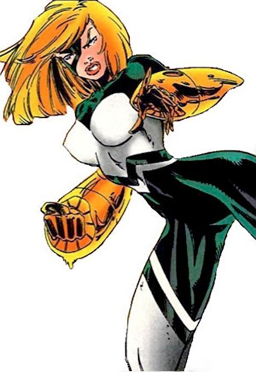 Joystick of the Thunderbolts (Marvel Comics) with the white and dark green costume