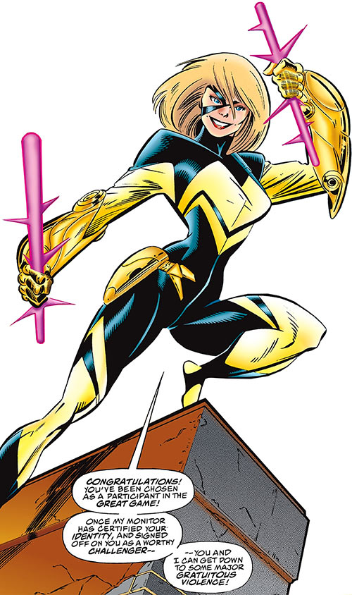 Joystick of the Thunderbolts (Marvel Comics) with her gauntlets and magenta sticks