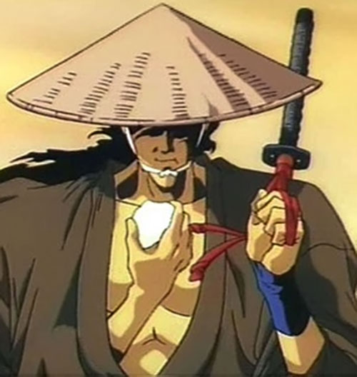 Jubei Kepagami (Ninja Scroll) eating on the go