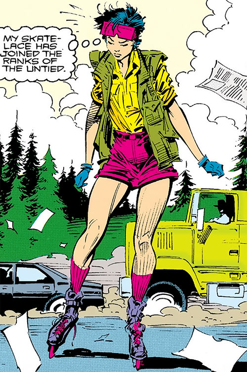 Jubilee (X-Men) (Marvel Comics) (Earliest) rollerblades and passing truck