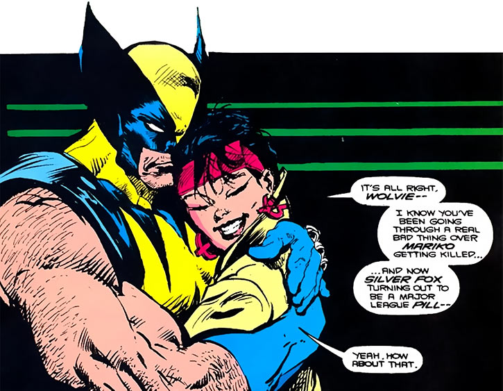 Jubilee (X-Men) (Marvel Comics) (Earliest) Wolverine hug