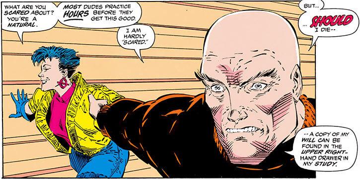 Jubilee (X-Men) (Marvel Comics) (Earliest) skating with Professor Xavier