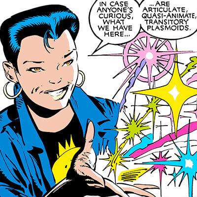 Jubilee (X-Men) (Marvel Comics) (Earliest) shows her plasma