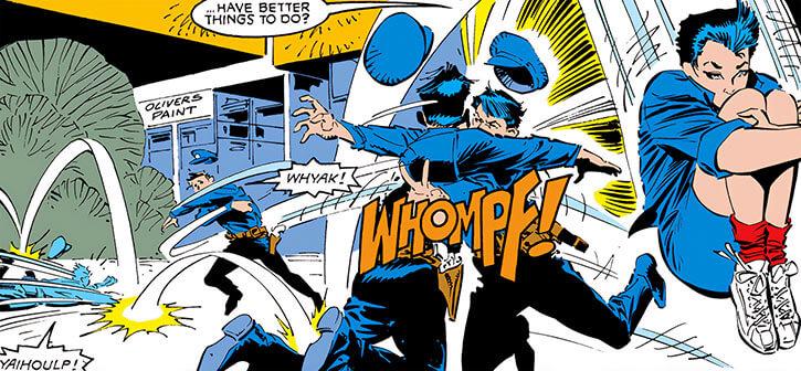Jubilee (X-Men) (Marvel Comics) (Earliest) evading mall security acrobatics
