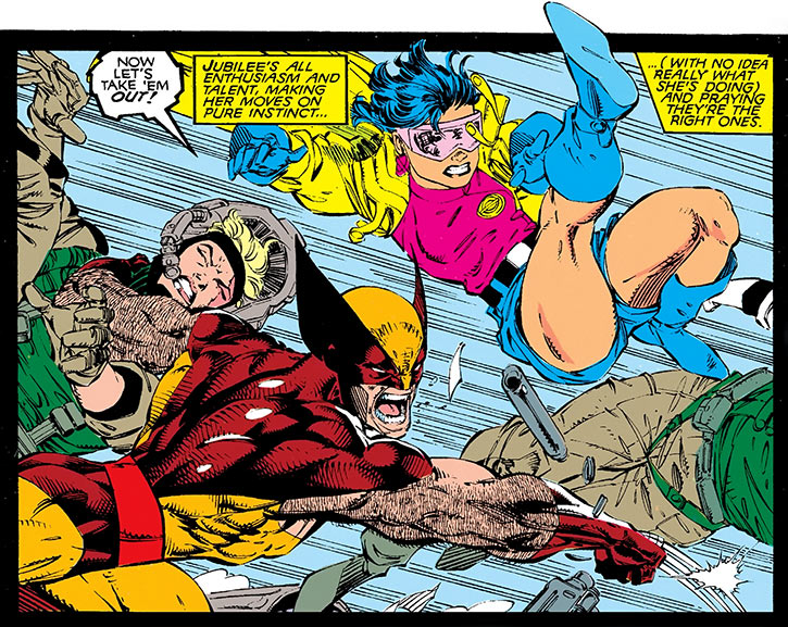 Jubilee (X-Men) (Marvel Comics) (Earliest) fighting Magistrates along with Wolverine
