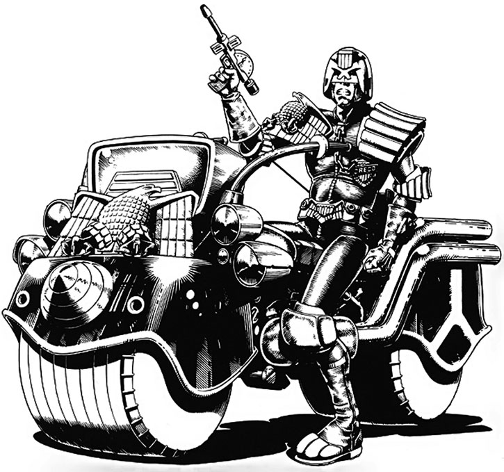 Judge Dredd riding a Lawmaster