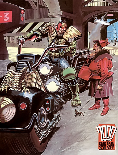 Judge Dredd (2000AD Comics) inspecting a dog permit