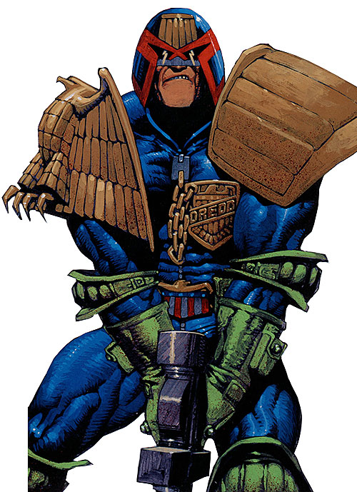 Judge Dredd (2000AD Comics) readying his Lawgiver