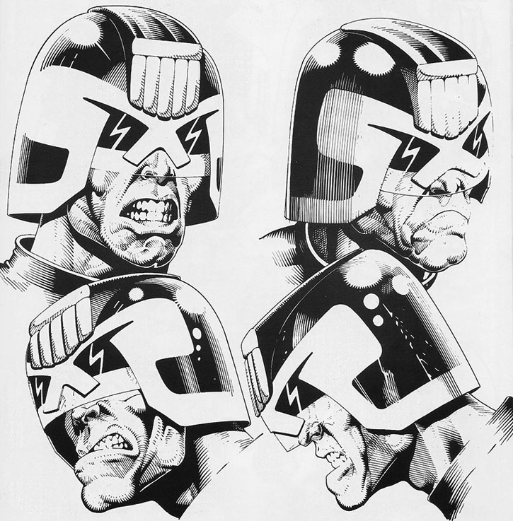 Judge Dredd emoting and scowling